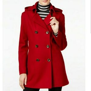 XL red hooded nautica wool peacoat